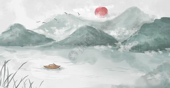 清明中国风水墨画图片