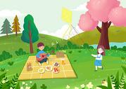 春游出行 野餐放风筝图片