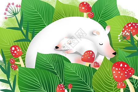 草丛里白熊母子图片