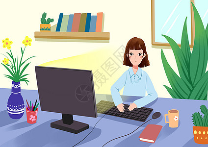 办公室女生图片