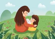 妈妈和女儿坐草地上看书图片