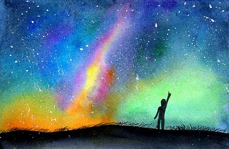 水彩手绘星空高清图片