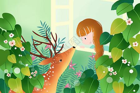 麋鹿与小女孩高清图片