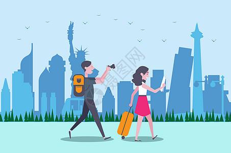 情侣国外旅行旅游扁平插画图片