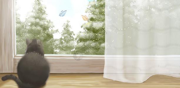 春天家居植物背景图片