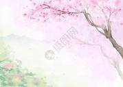 手绘桃花中国风背景图片