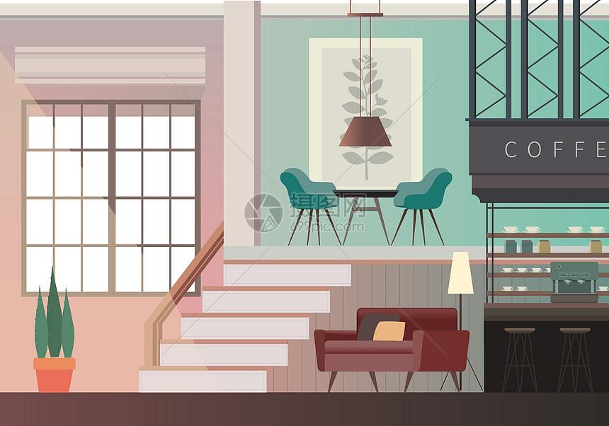 茶餐厅家具_咖啡店室内家具插画图片下载-正版图片400118451-摄图网