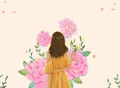 花与少女图片