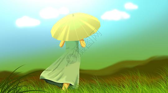 草地中的少女图片
