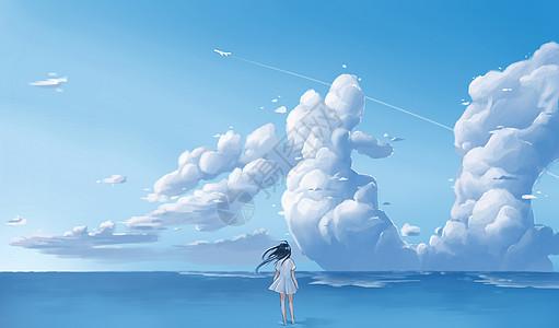 少女云天空图片