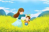 妈妈孩子在油菜花田图片