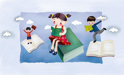 儿童看书插画图片
