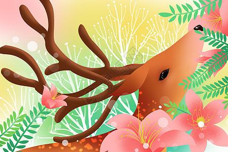 花与麋鹿唯美插画图片