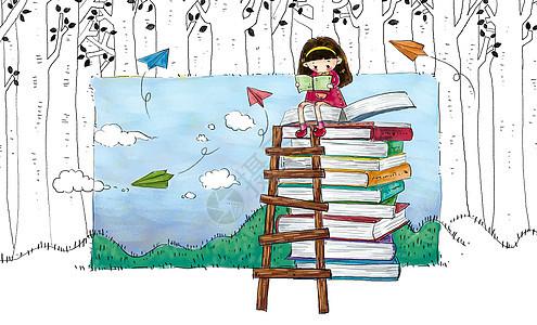 小女孩看书图片
