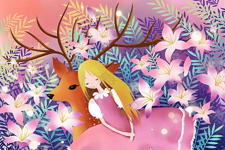 鹿与百合花少女图片