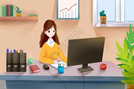 女孩在办公图片