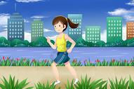 女孩跑步健身图片