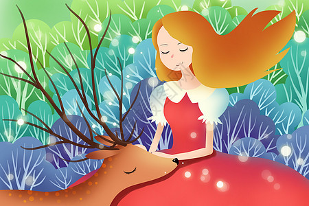 鹿与少女唯美插画图片