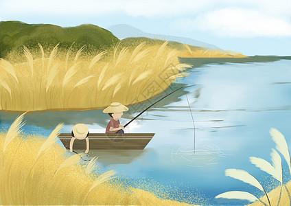 芦苇湖乘船钓鱼图片
