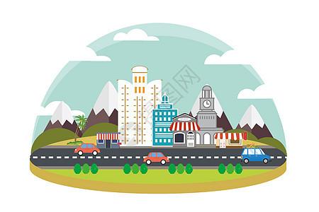 扁平化城市建筑图片