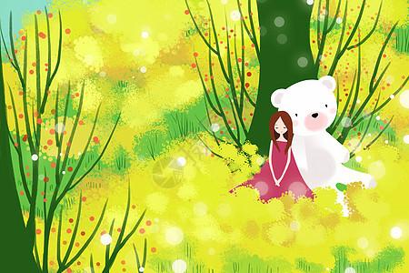 花海里的白熊少女图片