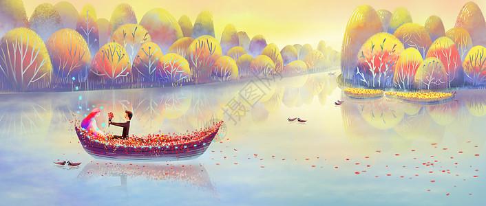 浪漫的小船上求婚图片