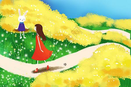 花田漫步的女孩图片