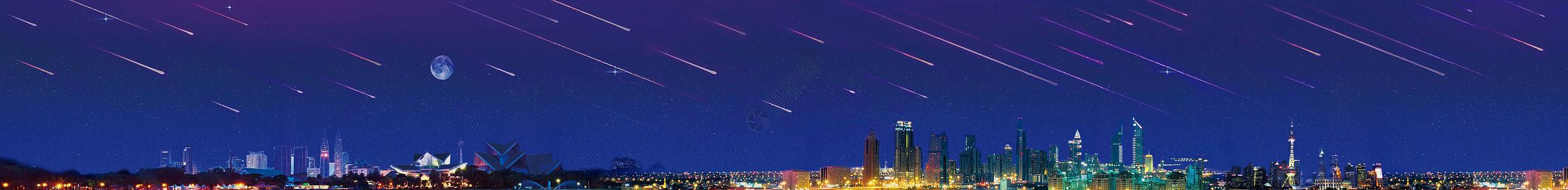 星空下的城市建筑图片