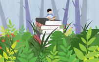 在森林里读书的孩子图片