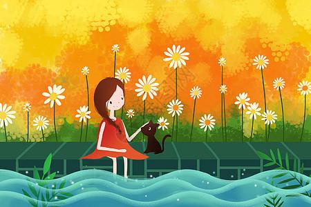 池塘边的女孩与猫图片