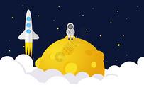 矢量登录月球插图图片