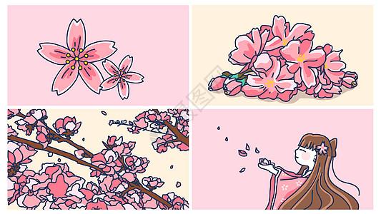 樱花盛开合集手绘图片