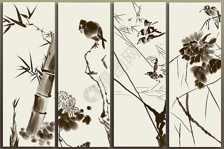 梅兰竹菊花鸟图片