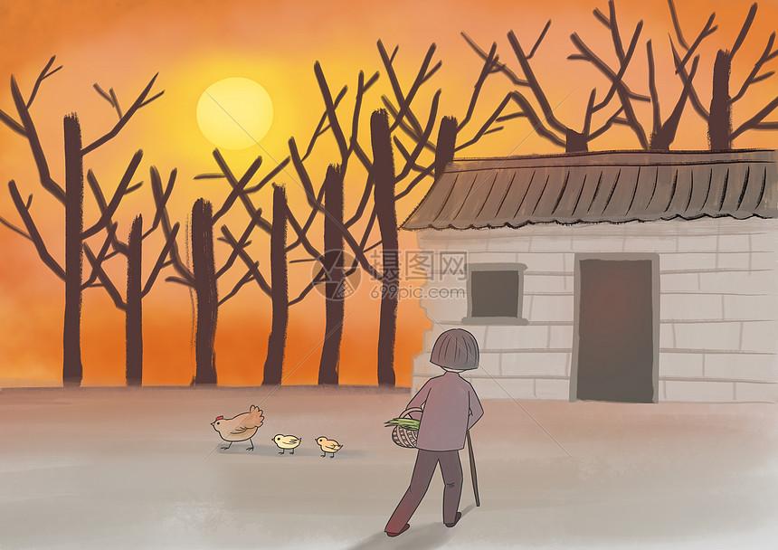 孤独老人回家的夕阳图片