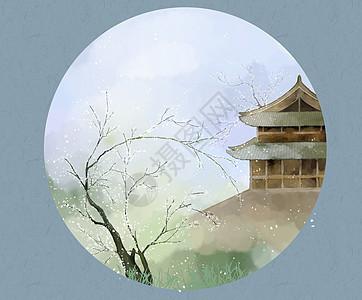 水彩风景插画图片