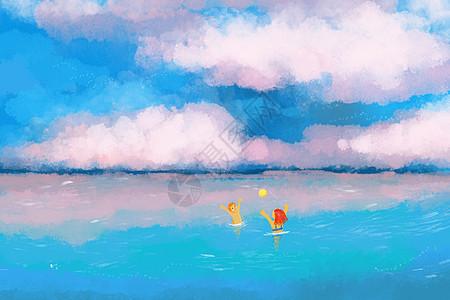 海边玩耍图片