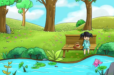 春天河边的女孩图片
