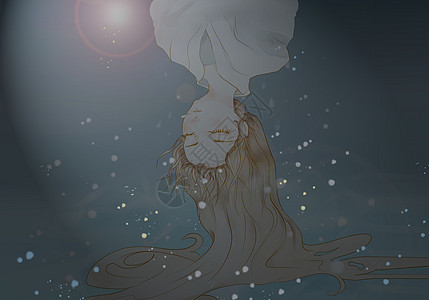 水中的女孩倒影图片