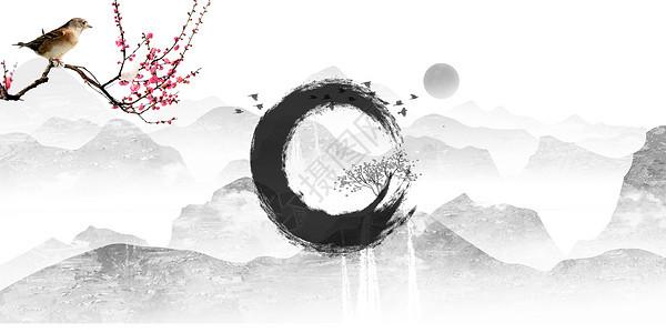 复古红梅喜鹊云山图图片