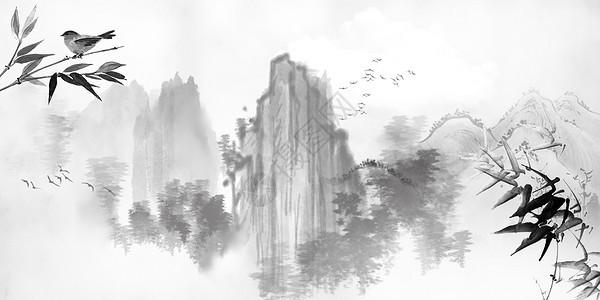 红梅山水背景图片