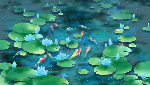 莲花锦鲤池图片