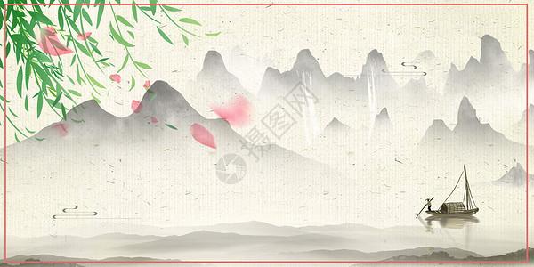 古风绿叶桃花山水背景图片