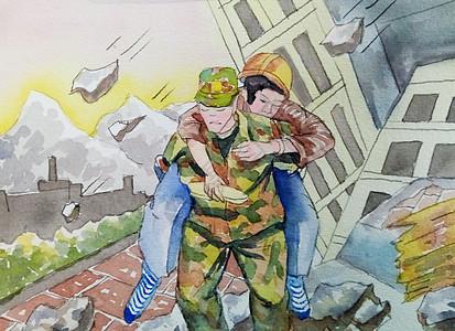 地震中被解放军救护的人图片