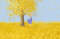 银杏树下的女孩图片