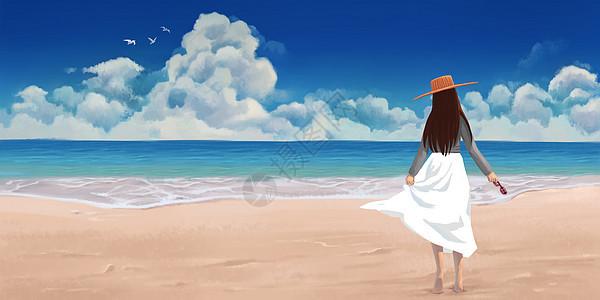 夏天沙滩的白裙女孩图片