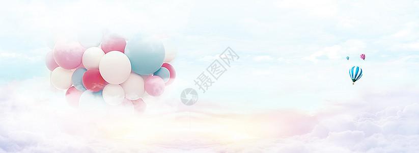 云朵气球小清新banner海报背景图片