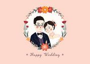结婚纪念日花卉背景请柬图片