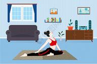 室内瑜伽健康运动插画图片