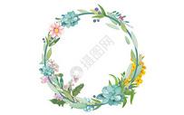 手绘水彩花环图片