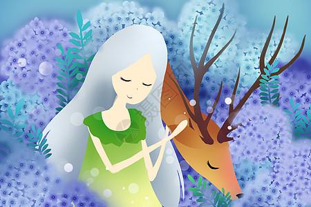 唯美少女和鹿图片